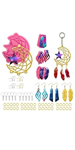 Keychain Resin Molds,  Design Dream Catcher Silicone Molds, Epoxy Casting Earring/Pendant/Feather