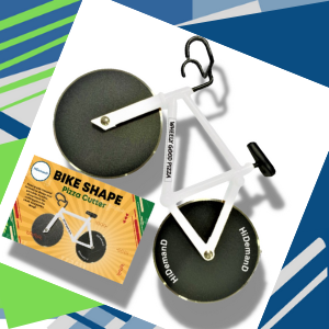 White Bike Pizza Cutter with Gift Box