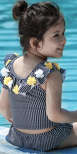 Toddler Girls Tankini Sets 3D Flower Two Piece Swimsuit Striped Ruffle Swimwear Sun Protection Suit