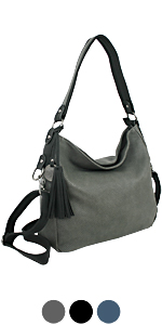 Damen Schultertasche, Umhängetasche, Crossbody-Bag schwarz grau blau