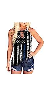 Womens Summer Tops American Flag Patriotic Tank Tops Sleeveless Shirts