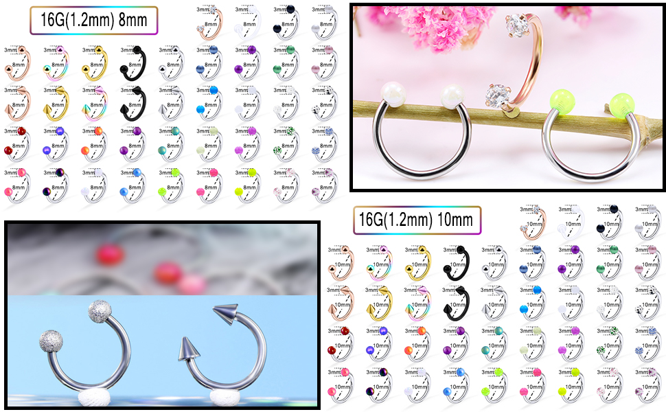 8MM Earrings,Septum Jewelry,Lip RIngs,