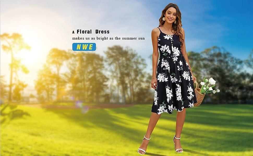 sureple knee length black floral summer dress for women with pockets