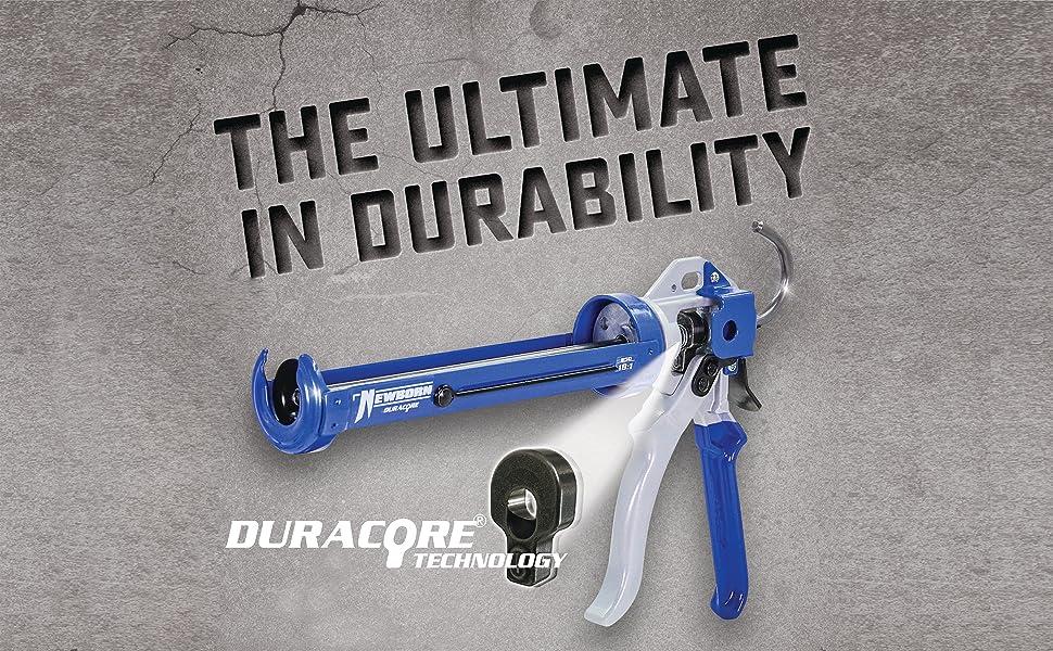 DuraCore; dura core; heavy duty; strong; thrust; Hi-thrust; High thrust; thrust; caulk gun; pistola