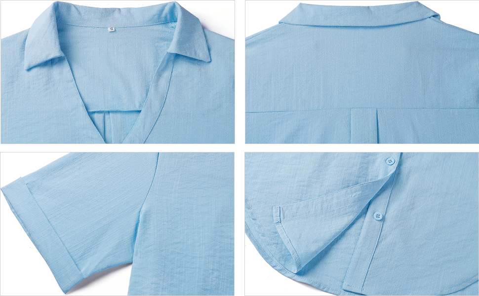 Womens Short Sleeve Button Down Shirts Cotton Linen Collared V Neck Tops Blouses