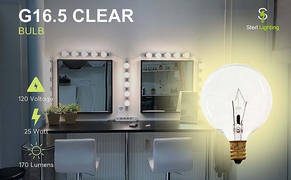 G16.5 Clear 25 watt light bulbs wax warmers