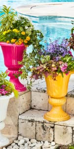 Colorful Resin Planter Urns Add A Bold Touch To Your Outdoor Space
