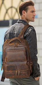 15.6 laptop Laptop Leather Backpack for Men