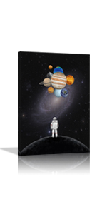 Creative Outer Space Astronaut Holding Planets Wall Art