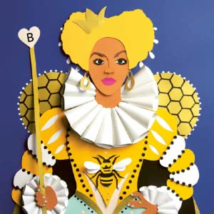 A person dressed as a queen in a dress decorated with bees.