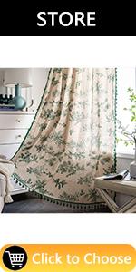 Green Leaves Window Curtain Panels