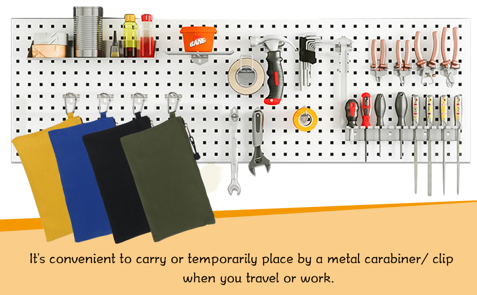 It's convenient to carry or temporarily place by a metal carabiner/ clip when you travel or work