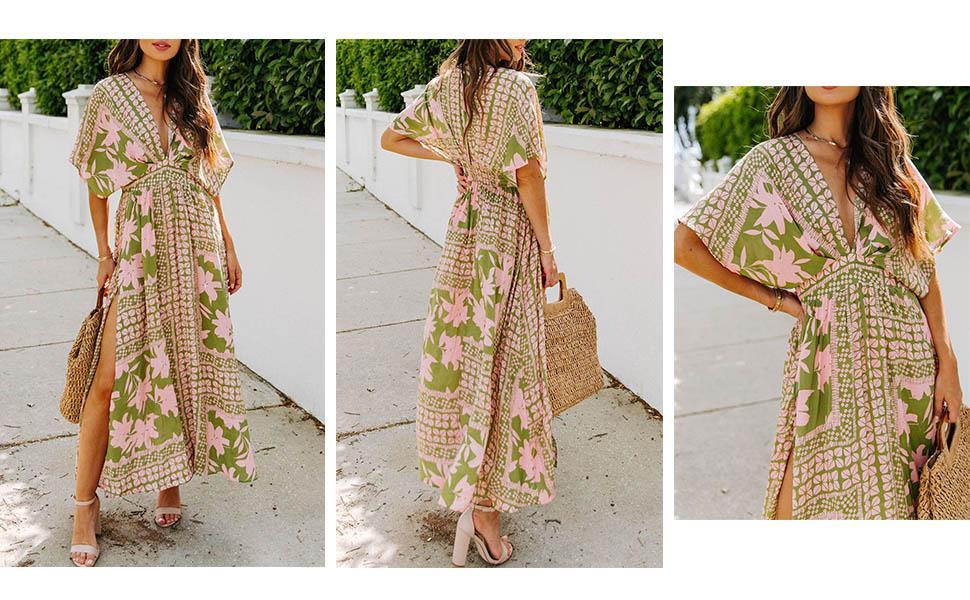 Women High Slit Long Summer Dress