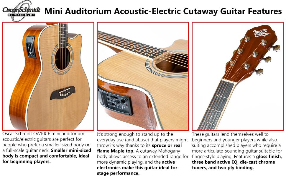 Mini Auditorium Acoustic-Electric Cutaway Guitar Features