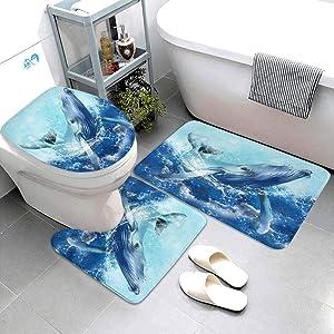 Bath mat amp;U-shaped rug amp;Toilet Lid Cover