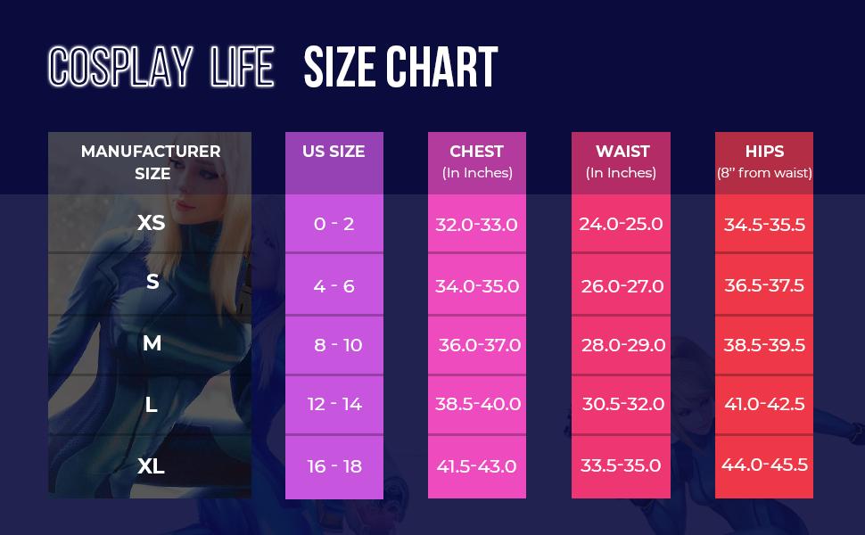 zero suit samus size chart US standard