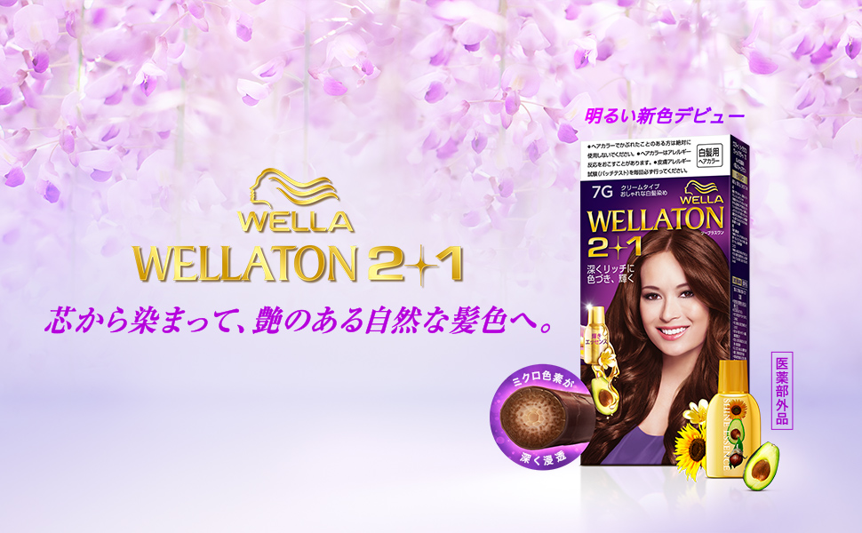 「Wellaton ウエラトーンツープラスワンクリームタイプ」のパッケージの周りに、 髪にミクロ色素が浸透する図、輝きエッセンス、アボカド、花が配置されている。 背景色は薄い紫色、上部には紫色の花。