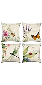 Insects and Plant Waterproof Cushion Covers