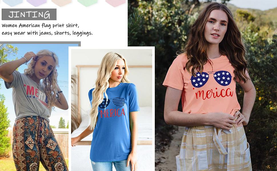 American Flag Tee Shirts for Women Short Sleeve USA American Flag Print Graphic Tee Shirts Tops