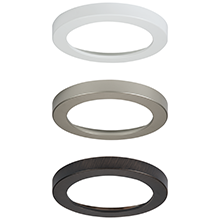 HALO SMD family of designer trims in white, brushes nickel and tuscan bronze