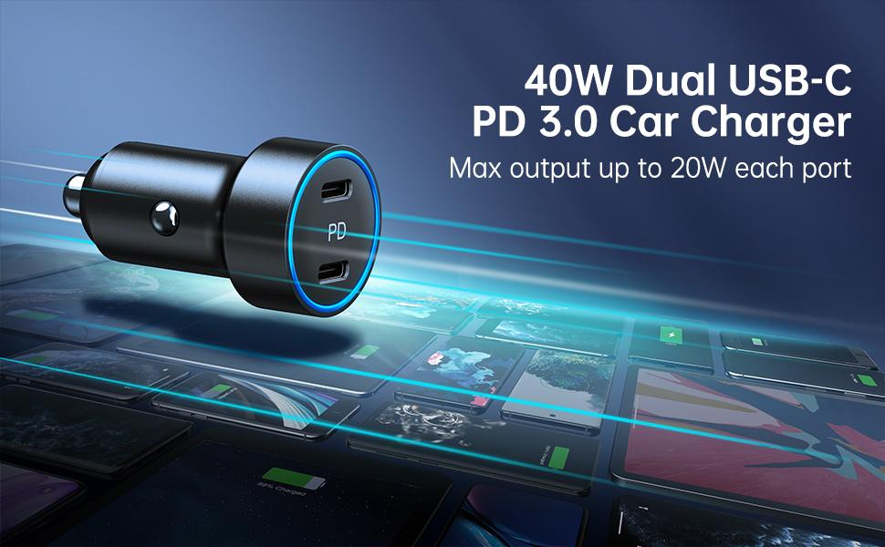40W Dual USB-C Car Charger