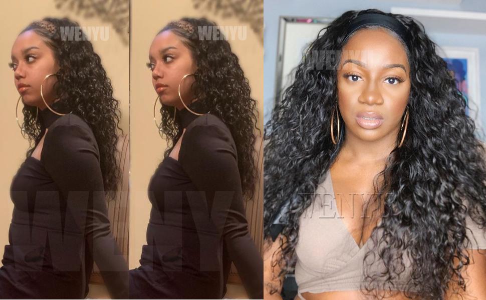 WENYU Headband Wigs For Black Women Human Hair Water Wave Headband Wig Human Hair Water Wave