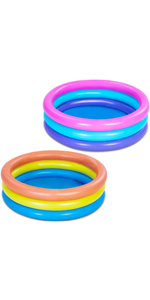 2 Packs 34'' Multicolor Inflatable Kiddie Pools