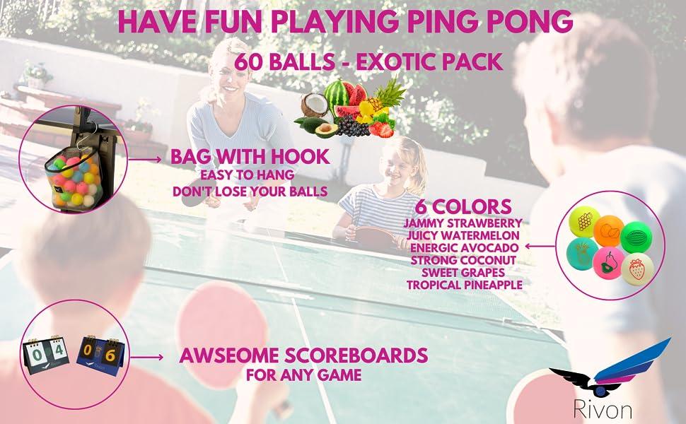 Rivon 60 Ping Pong Balls - Exotic Pack
