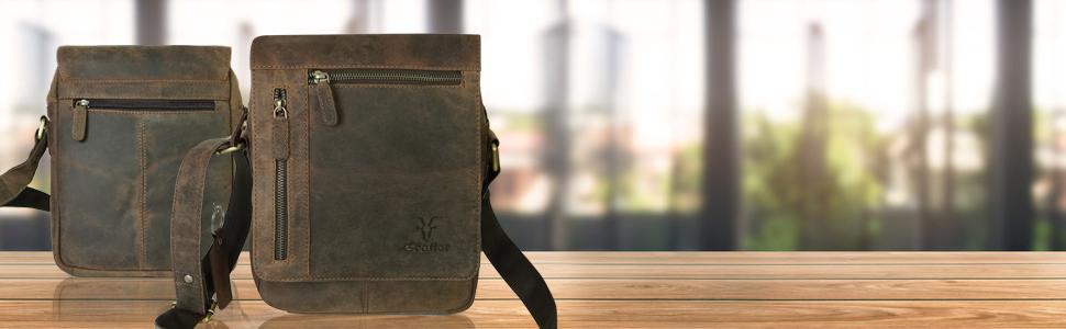 Goatter Unisex Hunter Leather Inch Multi Pocket Messenger Bags