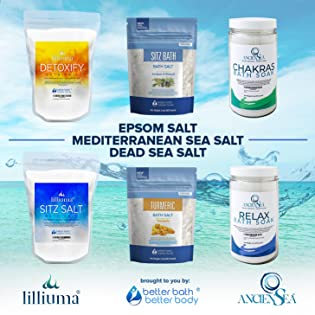 epsom salt  dead sea salt and mediterranean sea salt bath soaks