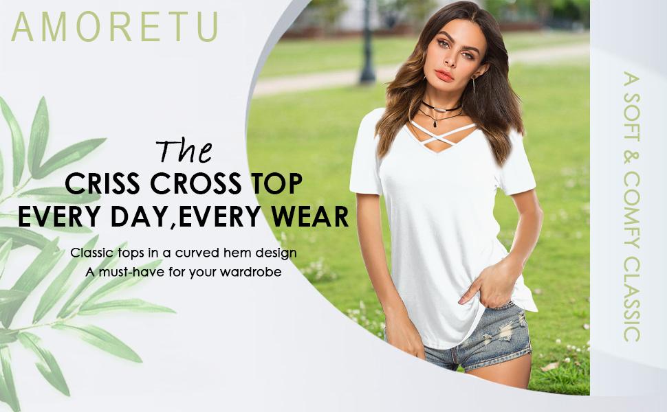 women t-shirt criss cross tops