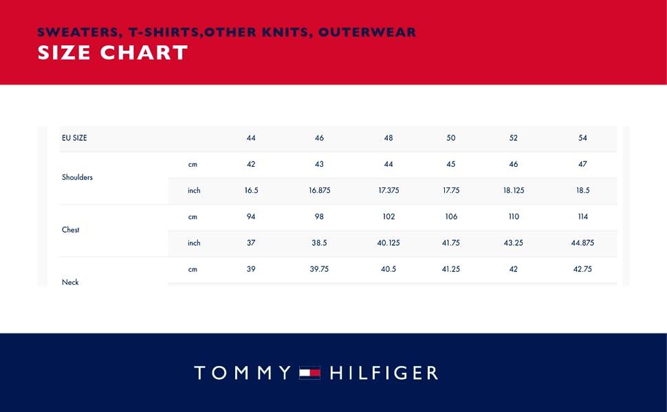 Sweaters Size Chart