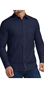 Mens Long Sleeve Shirts Linen Casual Button Down Tees Spread Collar Plain Shirtshort
