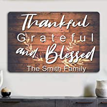 Thankful Grateful and Blessed Sign