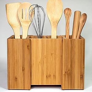 Front utensil holder with utensils