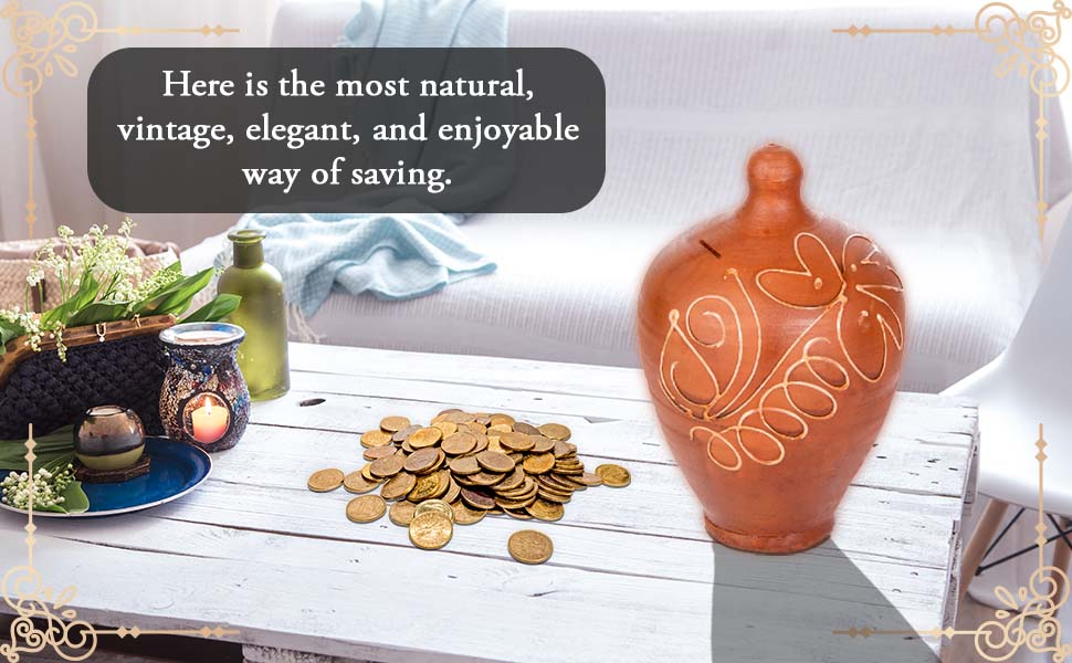 Natural Clay Piggy Banks for Adults, Girls, Boys and Children, Vintage, Antique, Natural Coin bank