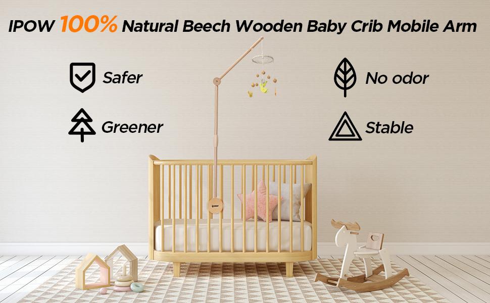 IPOW Wooden Baby Crib Mobile Arm