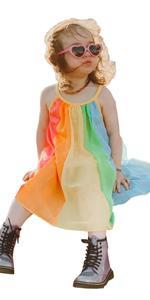 rainbow summer baby girls halter dresses