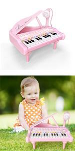 24 keys kids piano pink