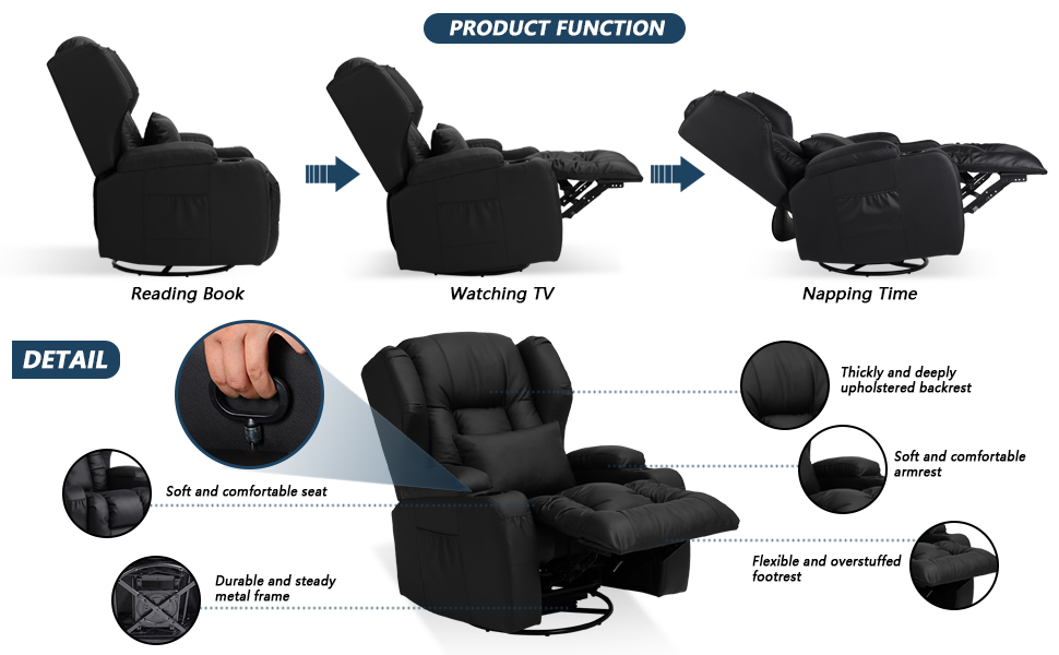 IPKIG Swivel Rocker Recliner Chair