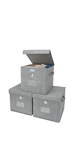 GRANNY SAYS Gray Storage Cubes with Lids, Set of 3