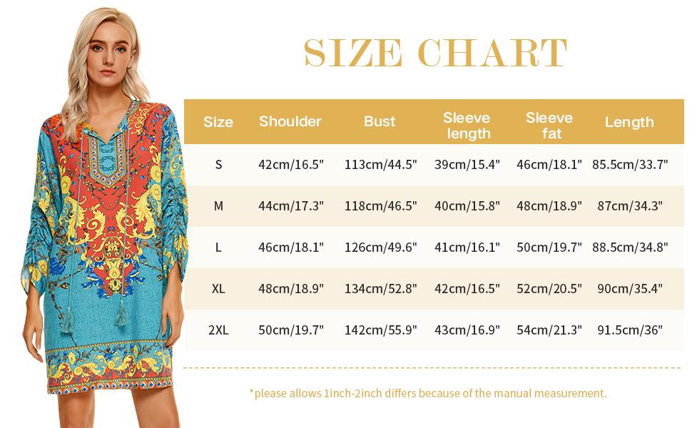 Size chart casual summer beach dress plue size boho dress for women vintage dresses for women