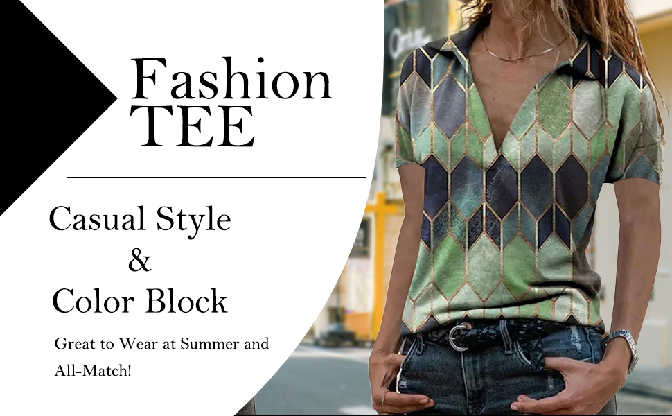 2021 Womens color block casual TEE Fashion