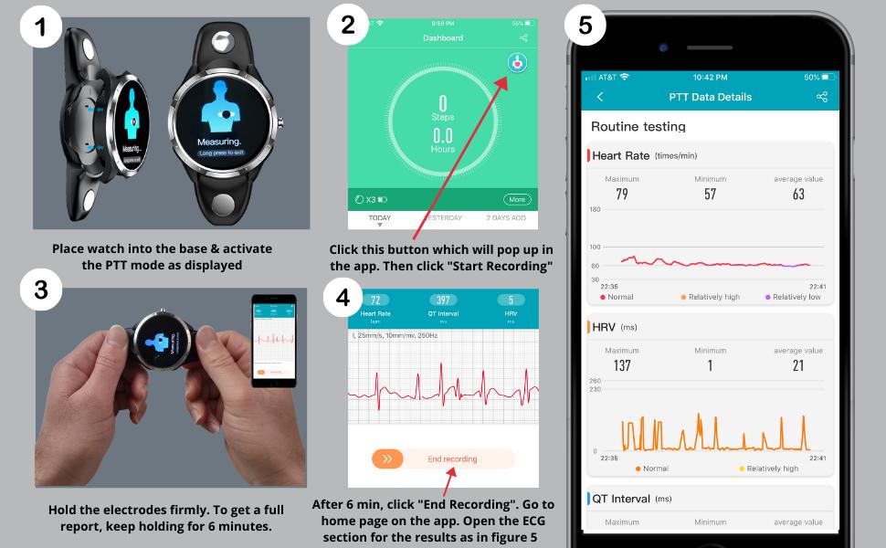 Sporex smart watch heart rate blood pressure