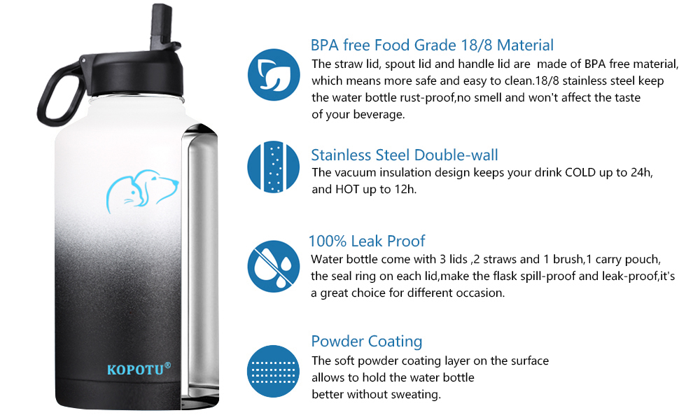 64 oz insulated water bottle white amp; black