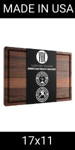 17x11 dark wood cutting board made in USA