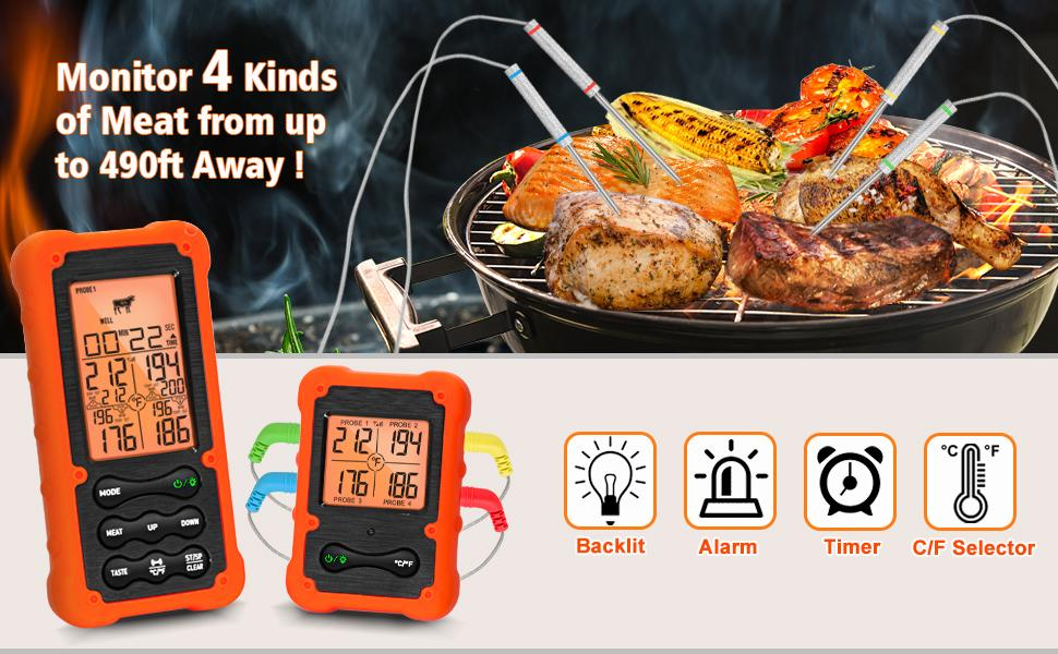 Wireless Meat Thermometer for grilling and smoking