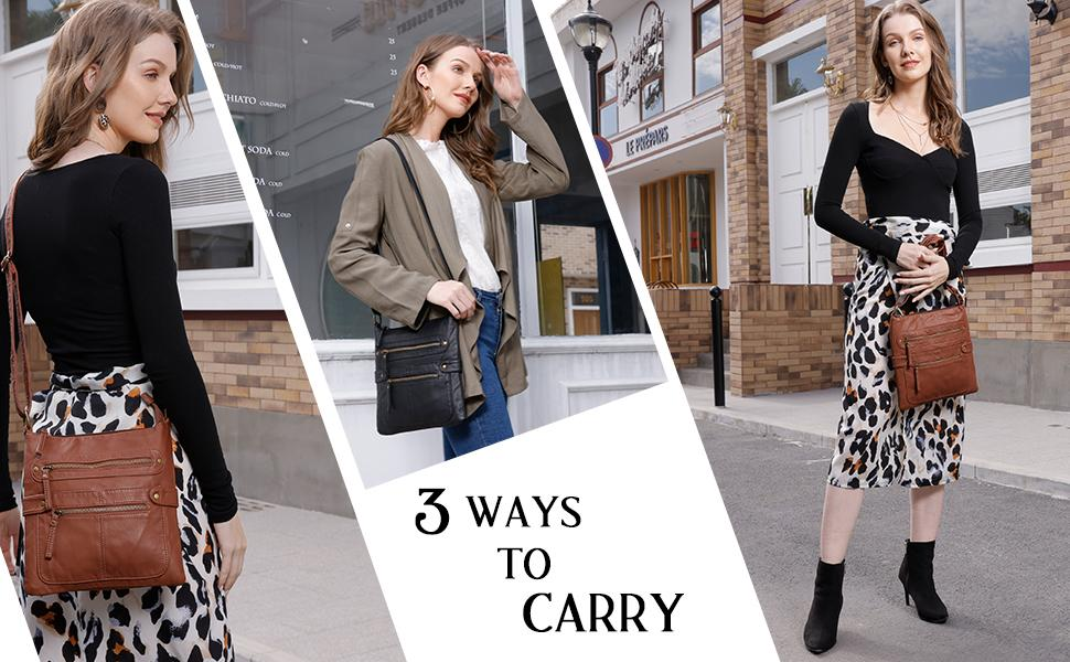 scarleton using her crossbody bag for shopping and errands, women wearing her shoulder bag