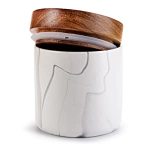 Ceramic Kitchen Canister Food Storage White Jar with Airtight Lid Coffee Canister