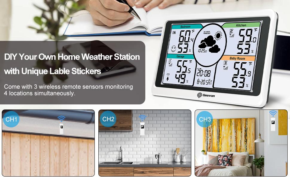 Geevon 208664 Weather Station Wireless Indoor Outdoor with 3 Remote Sensors & DIY Lable Sticks